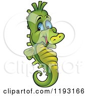 Cartoon Of A Happy Green Seahorse With Blue Eyes Royalty Free Vector Clipart