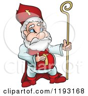 Cartoon Of Saint Nicholas Holding His Belly And A Staff Royalty Free Vector Clipart by dero