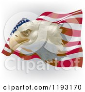 Clipart Of A Bald Eagle Head Over A Wavy American Flag On Shading Royalty Free Vector Illustration by dero