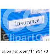 Clipart Of A 3d Insurance Tag On A Hanging File Folder Royalty Free CGI Illustration by stockillustrations