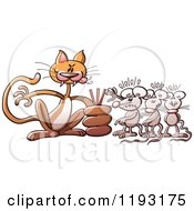 Cartoon Of A Bully Cat Deciding Which Mouse To Eat From A Line Royalty Free Vector Clipart