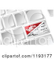Clipart Of A 3d Computer Keyboard With A Half Off Sale Button Royalty Free Vector Illustration