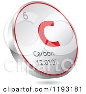Clipart Of A 3d Floating Round Red And Silver Carbon Chemical Element Icon Royalty Free Vector Illustration