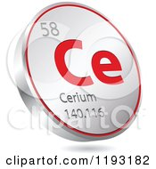 Clipart Of A 3d Floating Round Red And Silver Cerium Chemical Element Icon Royalty Free Vector Illustration