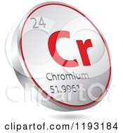 Clipart Of A 3d Floating Round Red And Silver Chromium Chemical Element Icon Royalty Free Vector Illustration