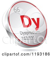Clipart Of A 3d Floating Round Red And Silver Dysprosium Chemical Element Icon Royalty Free Vector Illustration