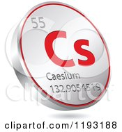Clipart Of A 3d Floating Round Red And Silver Caesium Chemical Element Icon Royalty Free Vector Illustration