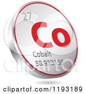 Clipart Of A 3d Floating Round Red And Silver Cobalt Chemical Element Icon Royalty Free Vector Illustration