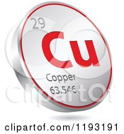 Clipart Of A 3d Floating Round Red And Silver Copper Chemical Element Icon Royalty Free Vector Illustration