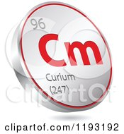 Clipart Of A 3d Floating Round Red And Silver Curium Chemical Element Icon Royalty Free Vector Illustration