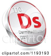 Clipart Of A 3d Floating Round Red And Silver Darmstadtium Chemical Element Icon Royalty Free Vector Illustration