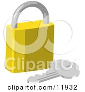 Golden Padlock And Key Clipart Illustration