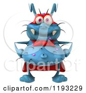 Clipart Of A 3d Happy Blue Super Germ Monster Royalty Free CGI Illustration