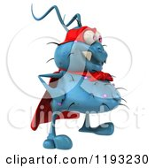 Clipart Of A 3d Happy Blue Super Germ Monster Facing Right Royalty Free CGI Illustration