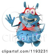 Clipart Of A 3d Happy Blue Super Germ Monster Waving Royalty Free CGI Illustration