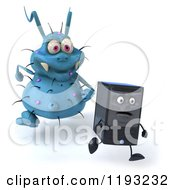 Clipart Of A 3d Blue Germ Virus Monster Chasing A Computer Tower Royalty Free CGI Illustration