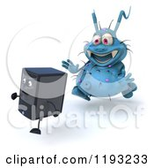 Clipart Of A 3d Blue Germ Virus Monster Chasing A Computer Tower 2 Royalty Free CGI Illustration