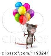 3d Happy Mouse With Colorful Party Balloons