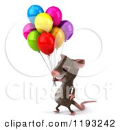3d Happy Mouse With Colorful Party Balloons 2