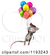 Clipart Of A 3d Happy Mouse Floating With Colorful Party Balloons Royalty Free CGI Illustration