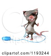Clipart Of A 3d Mouse Wearing Glasses Holding A Thumb Up And Standing By A Computer Mouse Royalty Free CGI Illustration by Julos