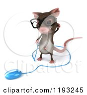 3d Mouse Wearing Glasses Scratching His Head And Looking Down At A Computer Mouse