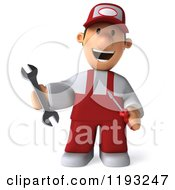 Clipart Of A 3d Happy Mechanic Walking In Red Overalls Royalty Free CGI Illustration