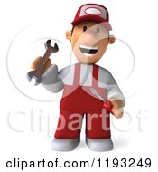 Clipart Of A 3d Happy Mechanic Waving In Red Overalls Royalty Free CGI Illustration