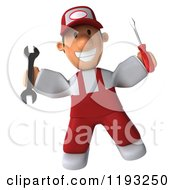 Clipart Of A 3d Happy Mechanic Jumping In Red Overalls Royalty Free CGI Illustration