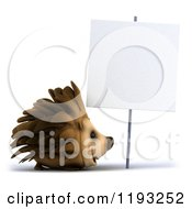 Clipart Of A 3d Happy Hedgehog Under A Sign Royalty Free CGI Illustration by Julos