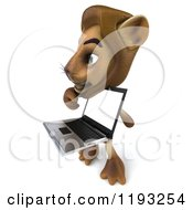 Clipart Of A 3d Lion Holding And Pointing To A Laptop Screen Royalty Free CGI Illustration