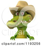 Clipart Of A 3d Crocodile Wearing A Cowboy Hat Over A Sign Royalty Free CGI Illustration by Julos