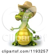 Clipart Of A 3d Crocodile Wearing A Cowboy Hat And Presenting Royalty Free CGI Illustration