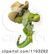 Clipart Of A 3d Crocodile Wearing A Cowboy Hat And Looking Around A Sign Royalty Free CGI Illustration