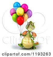Clipart Of A 3d Green Dragon Walking With Colorful Party Balloons Royalty Free CGI Illustration