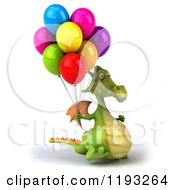 Clipart Of A 3d Green Dragon Walking With Colorful Party Balloons 2 Royalty Free CGI Illustration