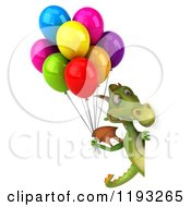 Clipart Of A 3d Green Dragon With Colorful Party Balloons Looking Around A Sign Royalty Free CGI Illustration