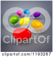 Clipart Of 3d Colorful Chat Balloons Over Gray 2 Royalty Free CGI Illustration by Julos