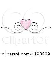 Clipart Of A Pink Heart And Black Scroll Design Edge Border Royalty Free Vector Illustration by Pams Clipart