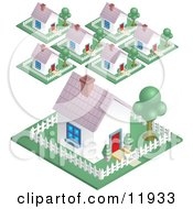Neighborhood In A Suburban Residential Subdivision Housing Area Clipart Illustration