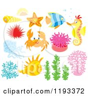 Cartoon Of Sea Creatures And Plants Royalty Free Vector Clipart