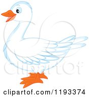 Cartoon Of A Cute White Duck Or Goose In Profile Royalty Free Vector Clipart by Alex Bannykh