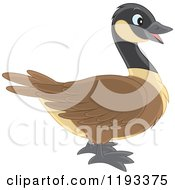 Cartoon Of A Cute Brown And Black Duck Canadian Goose In Profile Royalty Free Vector Clipart by Alex Bannykh