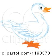 Cartoon Of A Cute White Duck In Profile Royalty Free Vector Clipart by Alex Bannykh
