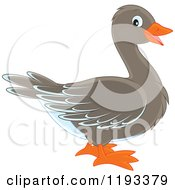Cartoon Of A Cute Goose Or Duck In Profile Royalty Free Vector Clipart by Alex Bannykh