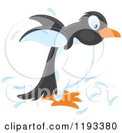 Cartoon Of A Cute Penguin Splashing Royalty Free Vector Clipart