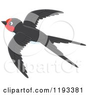 Cartoon Of A Cute Black And Red Martin Swallow Bird Flying Royalty Free Vector Clipart