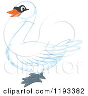 Cartoon Of A Cute Mute Swan In Profile Royalty Free Vector Clipart by Alex Bannykh