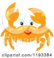 Cartoon Of A Happy Orange Crab With Yellow Spots Royalty Free Vector Clipart by Alex Bannykh