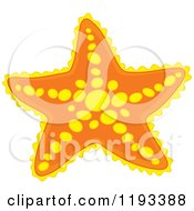 Cartoon Of A Yellow And Orange Starfish Royalty Free Vector Clipart